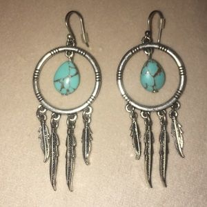 Silver & turquoise dream catcher earrings